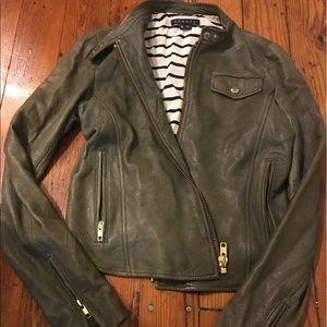 Theory gray leather jacket, petite